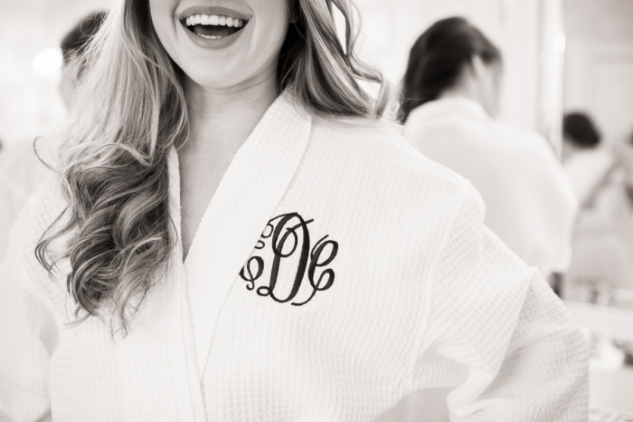 Rankin Gardens and Atrium Bride Getting Ready in White Monogrammed Robe Wedding Photo | www.hannahandrandall.com