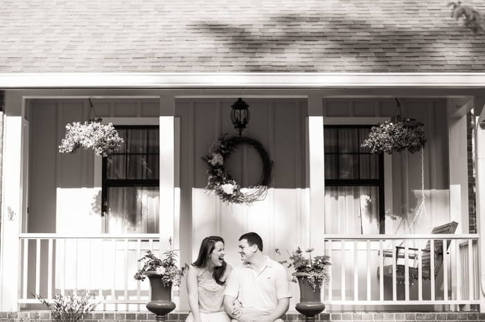 Kennesaw Mountain Engagement Photo Front Porch Black and White Wedding Photo | www.hannahandrandall.com