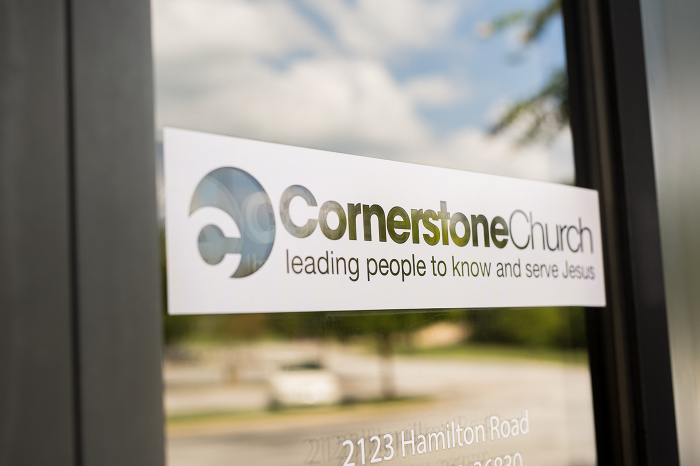Cornerstone Church Sign Wedding Photo | www.hannahandrandall.com