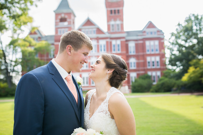 Samford Hall Bride and Groom Smiling Wedding Photo | www.hannahandrandall.com
