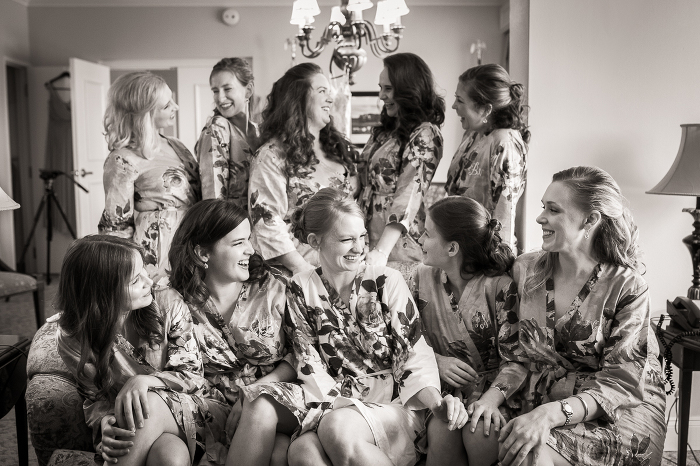 Grand National Marriott Bride and Bridesmaids in Robes Getting Ready for Ceremony Portrait | www.hannahandrandall.com