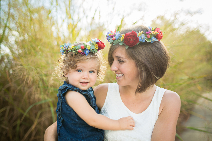 Mother and Daughter in Matching Flower Crowns at Sunset | www.hannahandrandall.com