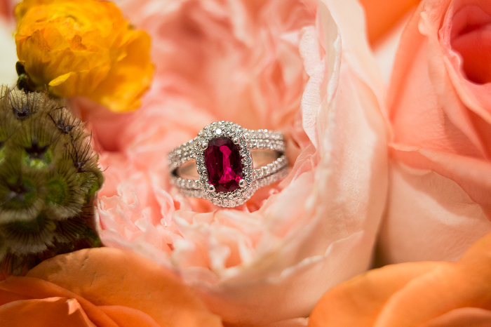 Ruby Engagement Ring in Pink Flower Wedding Photo | www.hannahandrandall.com